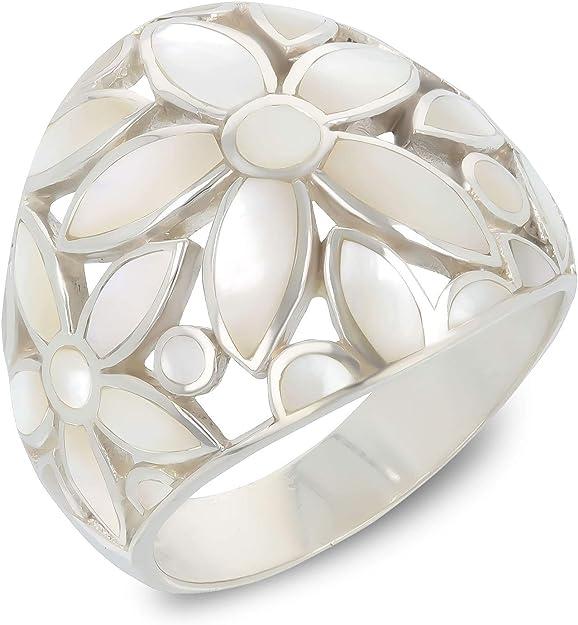 Aden's Jewels Bague-Nacre Blanche-Motif Fleurs-Argent Massif rhodié-Femme