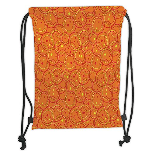 Custom Printed Drawstring Sack Backpacks Bags,Burnt Orange,Circle Patterns in Fashion Trend Colors on Retro Dotted Background Decorative,Orange Yellow Soft Satin,5 Liter Capacity,Adjustable String Clo