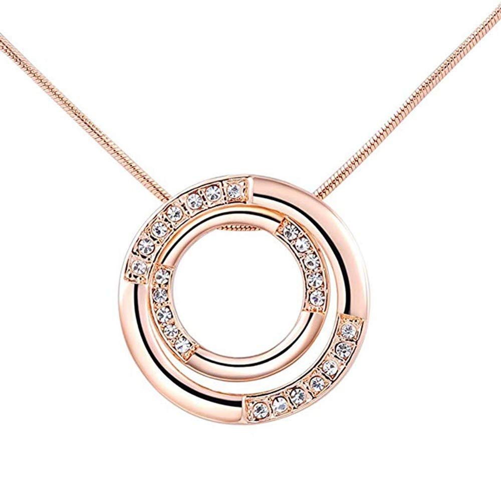 SANNYSIS Women Charm Pendant Rose Gold Plated Necklace Bicyclic Chain Necklace by Sannysis (Image #1)