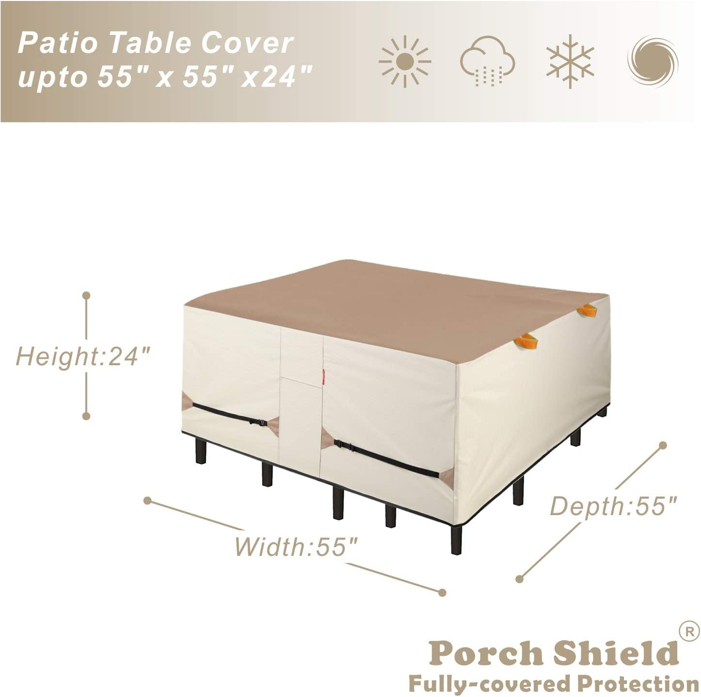 Porch Shield Patio Table Cover - Waterproof Outdoor Dining Table and Chairs Furniture Set Cover Square - 55 x 55 inch : Garden & Outdoor