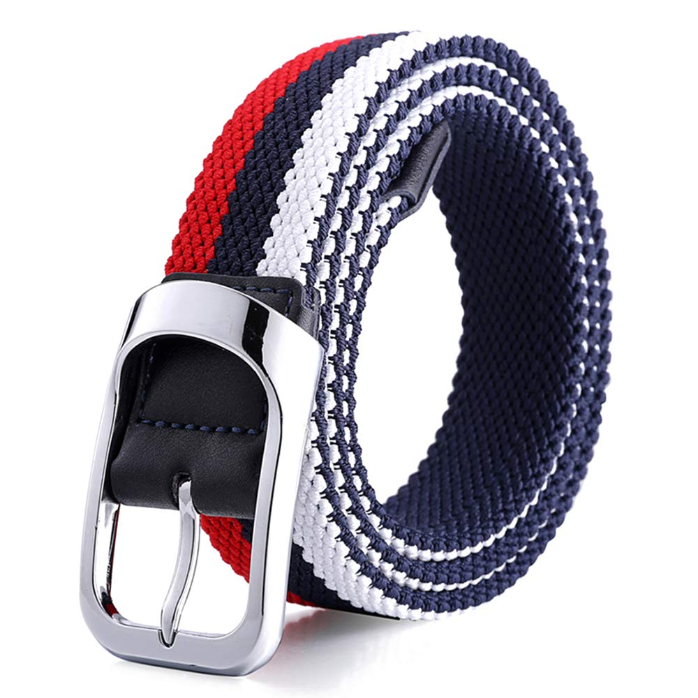 KINDOYO Mens Woven Elastic Belt Womens Braided Stretch Webbing Belt With Buckle