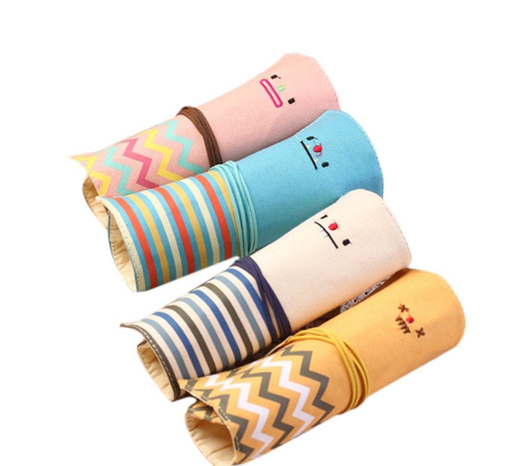 Cosanter 4pcs Pencil bag di linee tela Sweet Smile modello per pennelli da trucco per ragazze studenti