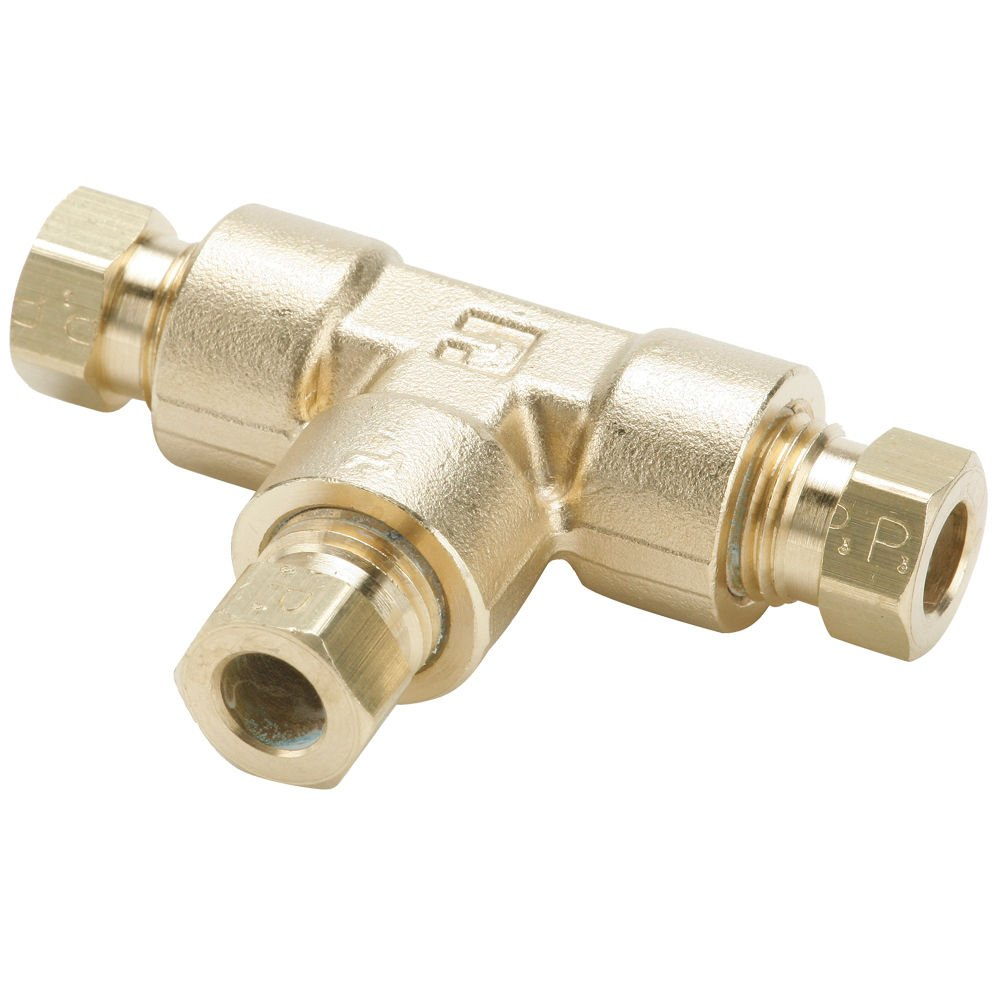 1//2 Tube to Tube Pack of 20 Compression Tee Parker 164HD-8-pk20 Flareless Tube Fitting 1//2 Brass Pack of 20 Hi-Duty