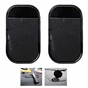 Ganvol 2 Pack Anti-slip Car Dash Sticky Pads, Heat Resistant Non-Slip Mats, Dashboard Holder (5.3 x 2.7 inch) - Leave no Residue Don't Melt under Hot Temperature, Reusable after Washing off Dust