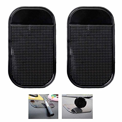 Ganvol 2 Pack Premium Anti-Slip Car Dash Sticky Pads 5.3 x 2.7 in, Cell Phone Dashboard Holder, Radar Detector Non-Slip Mat, Heat Resistant, Don't Stink, Leave no - Pad Iphone