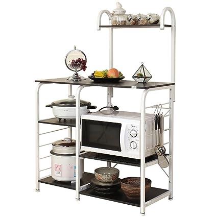 """DlandHome Soporte para carro de microondas 35.4"""", Almacenamiento de utilidad de cocina 3 niveles"""