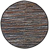Mixed Brown Leather Matador 3×3′ Round Rug For Sale