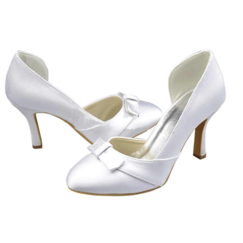 Qiusa Mädchen D-Orsay High High High Heel Satin Braut Brautschuhe (Farbe   Weiß-9.5cm Heel Größe   3 UK) 8ee4e9