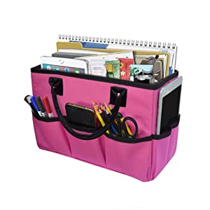 Godery Desktop File Folder Tote and Stock Organize, Fundamentals Art Organizer Storage Craft Tote Bag for Office Desk Organize, Make-up Storage Tote with Handles for Travel or Daily Use, Black Edge