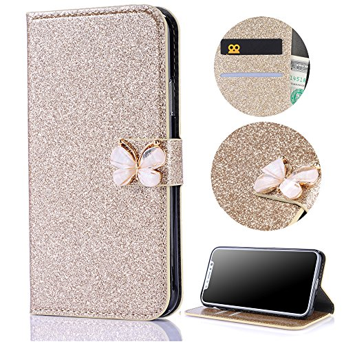 Stysen Galaxy S6 Edge Wallet Case,Shiny Gold Bookstyle with Strass Butterfly Bowknot Buckle Protective Wallet Case Cover for Samsung Galaxy S6 Edge-Butterfly,Gold by Stysen
