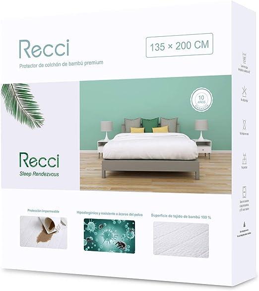 RECCI Cubre Colchón 135x190/200 - Cubrecolchón Impermeable 135x190 ...