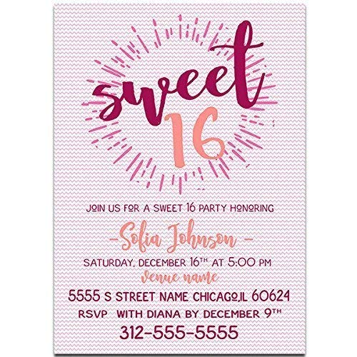 Image Unavailable Not Available For Color Starburst Sweet Sixteen 16 Birthday Party Invitations