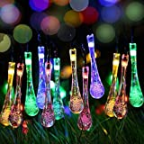 Garden Mile Solar powered LED Fairy Lights Outdoor Garden String light 20 water drop 4.8M multi color waterproof for Indoor Outdoor Party Garden Lighting Christmas Halloween Wedding Home Bedroom Yard Deck Decoration