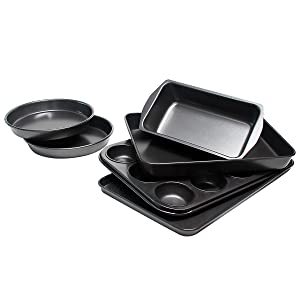 Bakeware Set, TOPTIER 6 Piece Nonstick Baking Pan Sets with Cookie Baking Sheets, Muffin Pan, Loaf Pan, Round Cake Pan, Roasting Pan for Professional Baking | Prime Housewarming & Wedding Gift, Black