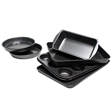 Bakeware Set, TOPTIER 6 Piece Nonstick Baking Pan Sets with Cookie Baking Sheets, Muffin Pan, Loaf Pan, Round Cake Pan, Roasting Pan for Professional Baking   Prime Housewarming & Wedding Gift, Black
