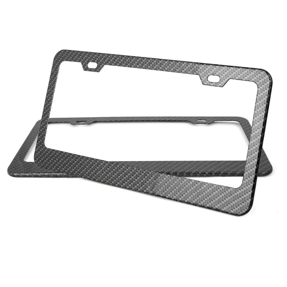 X AUTOHAUX 2Pcs Carbon Fiber Style Car 4 Hole License Plate Frame Holder w//Screw Caps