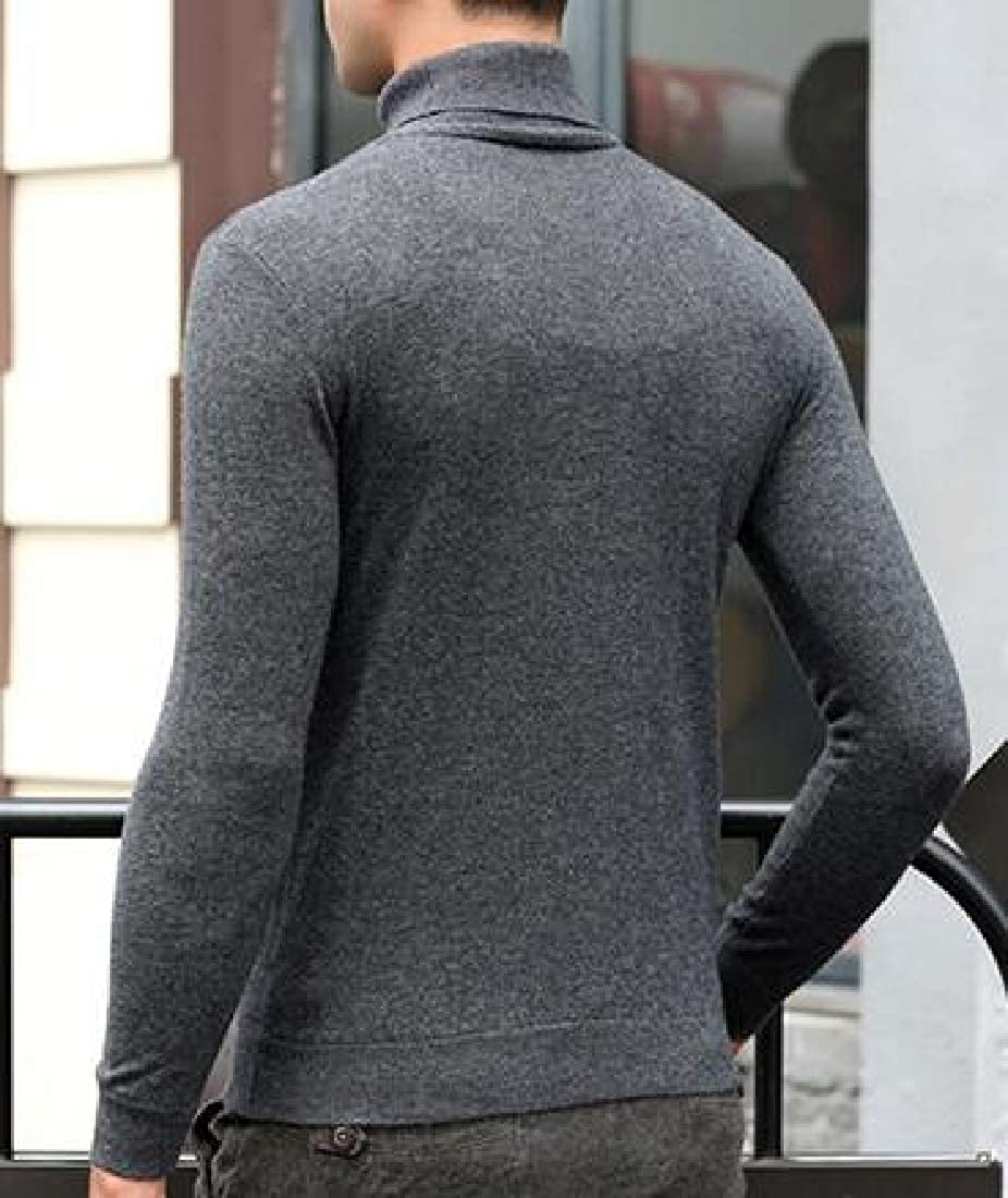 Smallwin Mens Solid Turtleneck Jumper Knitted Pullover Sweater