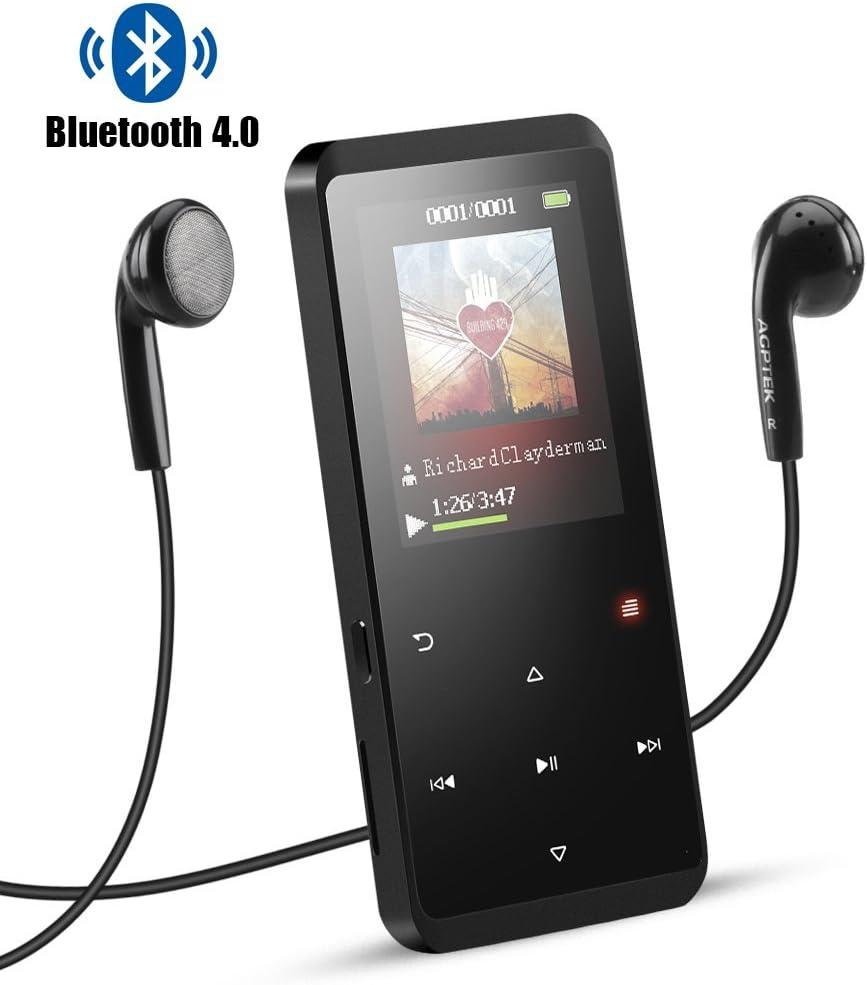 AGPTEK Reproductor Mp3 Bluetooth 8GB, HD Pantalla 2.4'' a Colores con Botones Táctiles, Mp3 Player de Metalico con Radio FM Grabador de Voz, Ampliable hasta 128GB, Color Negro C2