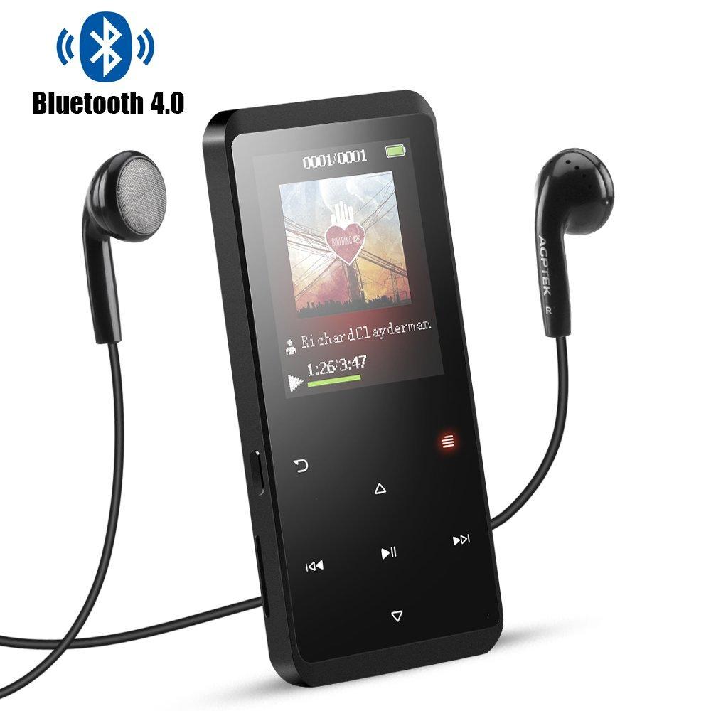 AGPTEK Reproductor MP3 8GB Bluetooth 4.0, A07B Reproductor de Música Metalico con Altavoz, Radio FM, Botones Táctiles, Extensible Memoria hasta 128GB, Negro