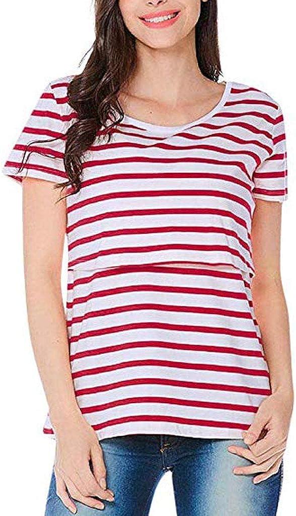 Yaseking Women Pregnant Maternity Short Sleeve Cotton Nursing Stripe Breastfeeding Tops T-Shirt Blouse