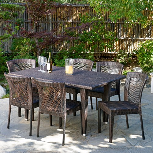 Christopher Knight Home 235374 Deal Furniture | Dana Point Brown 7 Piece Outdoor Wicker Dining Set