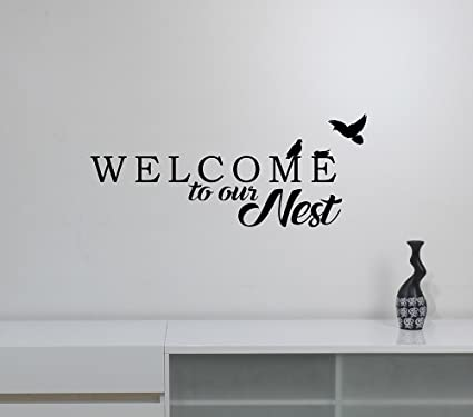 Welcome To Our Nest Wall Decal Dove Silhouette Vinyl