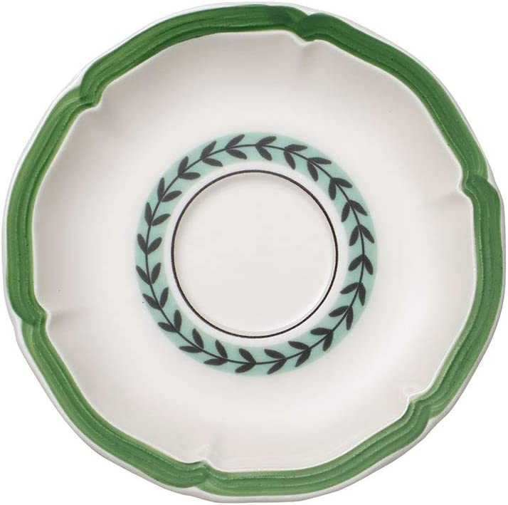 Villeroy & Boch French Garden Green Line Breakfast/Cream Soup Cup Saucer, 6.5 in, Premium Porcelain, White/Green