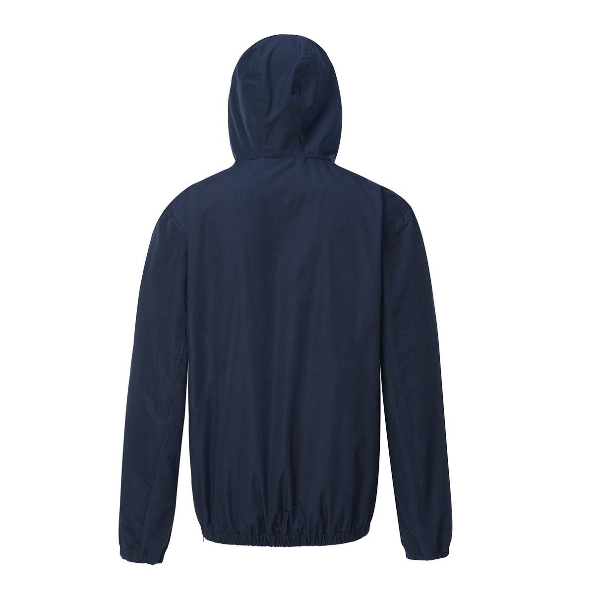 Rokka/&Rolla Mens Water-Resistant Hooded Quick Dry Athletic Windbreaker Jacket Hoodie