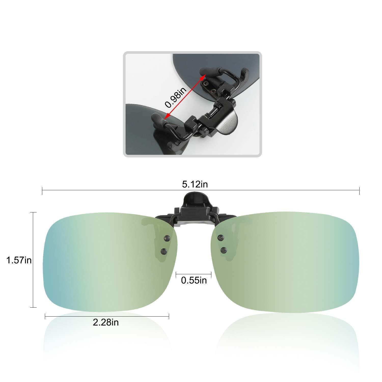Hifot Clip Gafas de Sol polarizadas Lentes 2 Piezas, Flip up Gafas de Sol para Mujer Hombre, Suplementos de Sol para Gafas graduadas