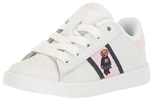540ca3d7cf9 POLO RALPH LAUREN Girls' QUILTON Bear Sneaker White Leather Light Pink/Navy  Striping M