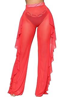 57d16daa4b docotor akio Women Sexy See Through Sheer Mesh Ruffle Pants Perspective Swimsuit  Bikini Bottom Cover up