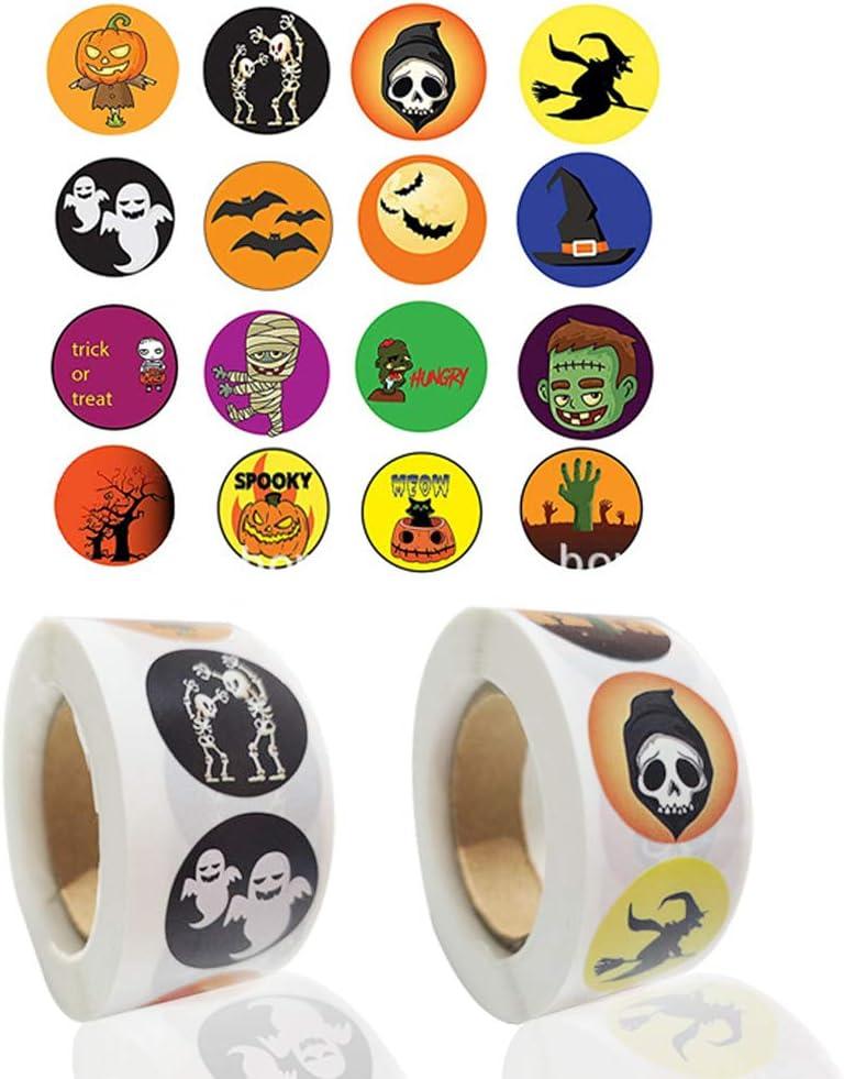 Pegatinas de Halloween Adecuado para fiesta de Halloween para la Pared Pegatina de Dibujos Animados Bricolaje Cierre de bolsa de bocadillos 1000 hojas, 16 estilos Papier auto-adh/ésif
