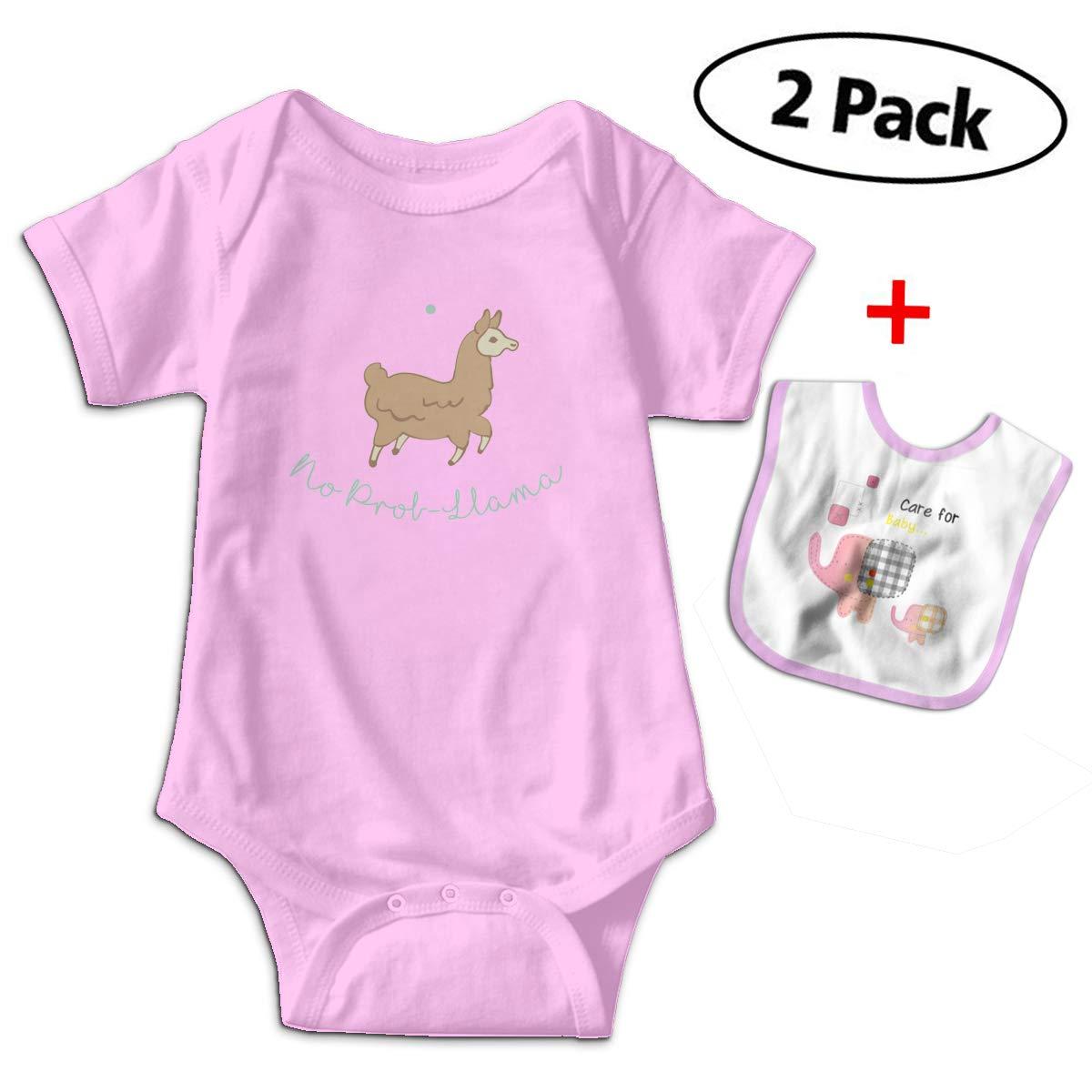 No Prob- Llama Baby Bodysuits Funny Short Sleeve Boy Girl