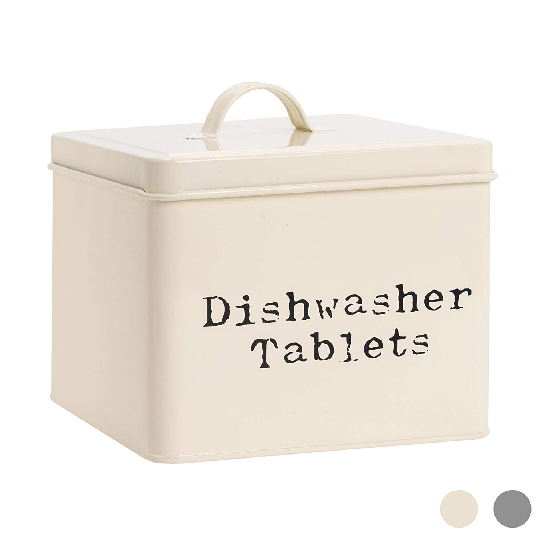 Harbour Housewares Lavavajillas industrial Tablet lata del almacenaje - Acero Estilo Vintage cocina para guardar Caddy con tapa - Crema
