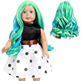 STfantasy American Girl Doll Wigs Ombre Green Highlight Blue Long Curly Hairpiece