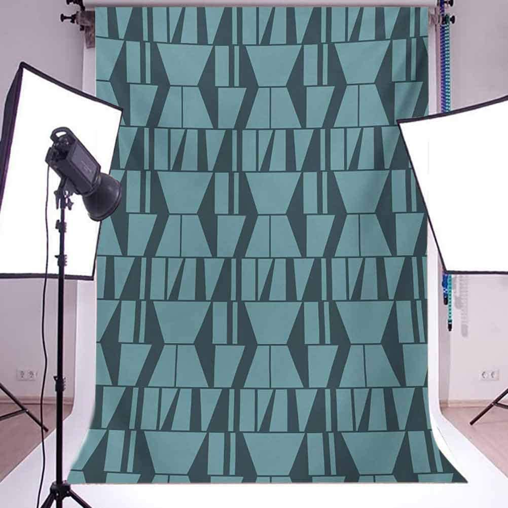 Green 6.5x10 FT Photo Backdrops,Modern Art Deco Style Minimalist Geometric Squares Triangles Image Background for Party Home Decor Outdoorsy Theme Vinyl Shoot Props Petrol Blue and Dark Blue