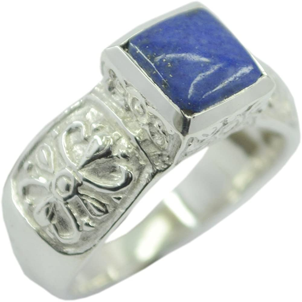 Jewelryonclick Natural Lapis Lazuli Gold Plated Rings for Women Pear Shaped Stone Size 5,6,7,8,9,10,11,12