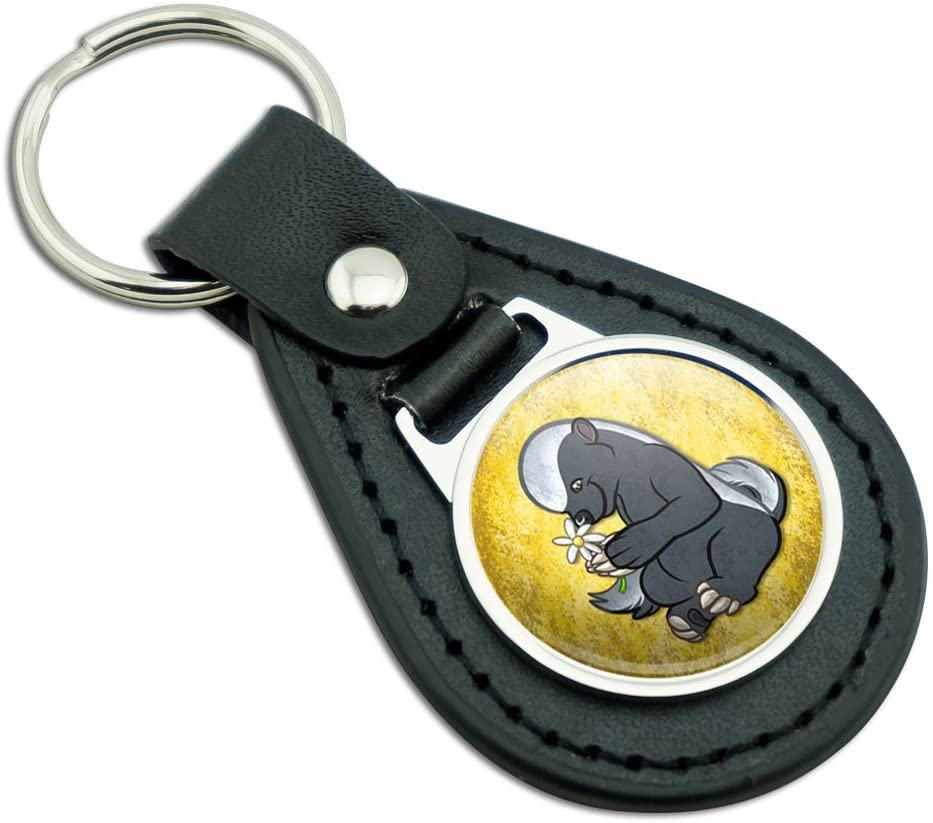 Cute Honey Badger Pink Leather Metal Keychain Key Ring