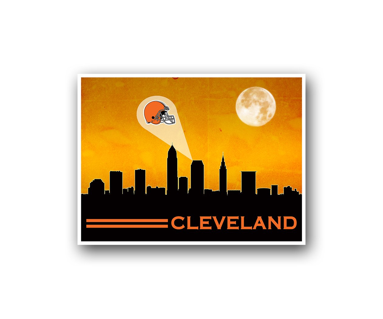 Amazon.com : Cleveland Browns Poster Sports Art City Skyline Print ...