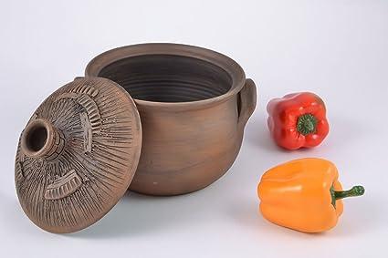 Pequeño maceta de terracota con tapa marrón decorado hecho a mano 2 l para cocina