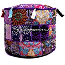 Handicraft-Palace Indian Embroidered Patchwork Ottoman Cover,traditional Indian Decorative Pouf Ottoman,indian Comfortable Floor Cotton Cushion Ottoman Pouf,indian Designs Ethnic Patchwork Pouf
