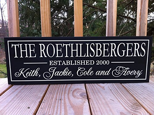 Family Established Wood Signs Family Established Sign with Names New Home Housewarming Gift Family Name Wood Sign Personalized Wooden 8x22