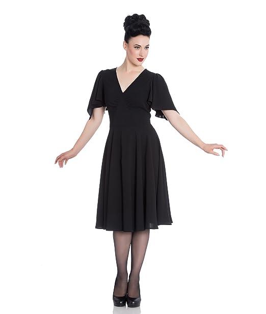 Hell Bunny CAROLINA Cóctel Estilo Vintage Vestido De Fiesta - Negro, UK 8 (XS