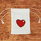 "set of 16 Heart Hand-painted White Cotton 2 sided Drawstring Pouch Favor bag 4"" X 6"""