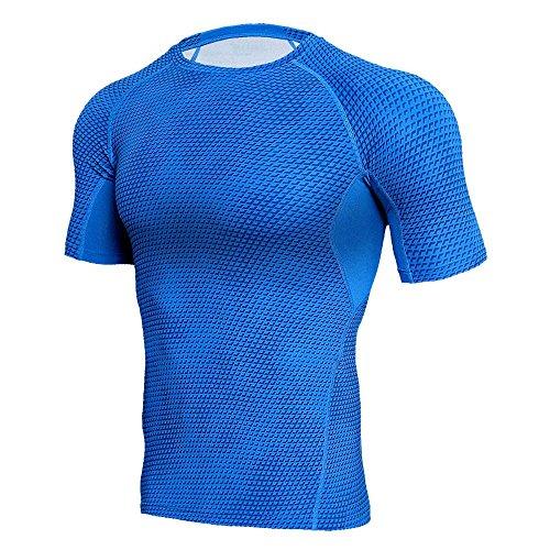 Realdo Men's Snake Skin Sports Shirt, Workout Leggings Fitness Gym Running Yoga Athletic Top(Blue,Large)
