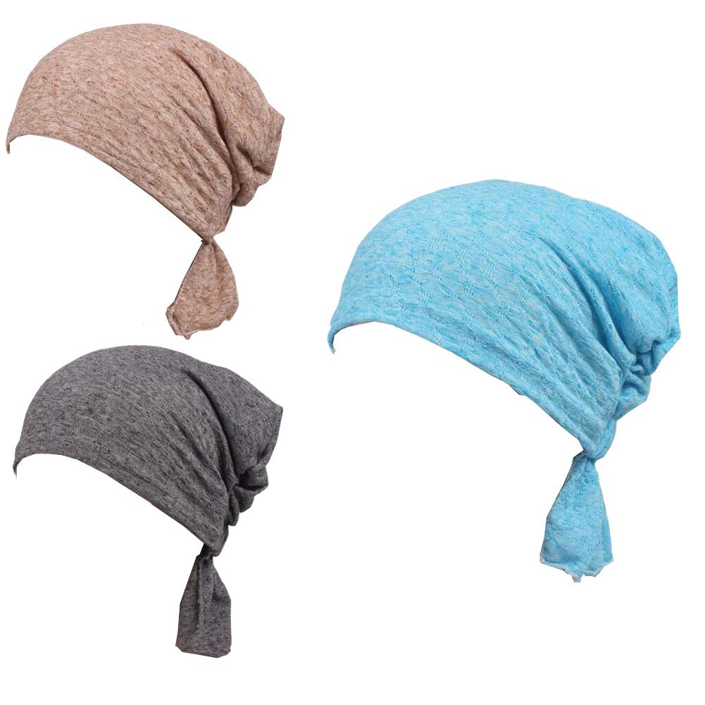 Luckystaryuan 3Pack Women's Chemo Hat Scarf, Turban Headwear for Cancer (Style 1)
