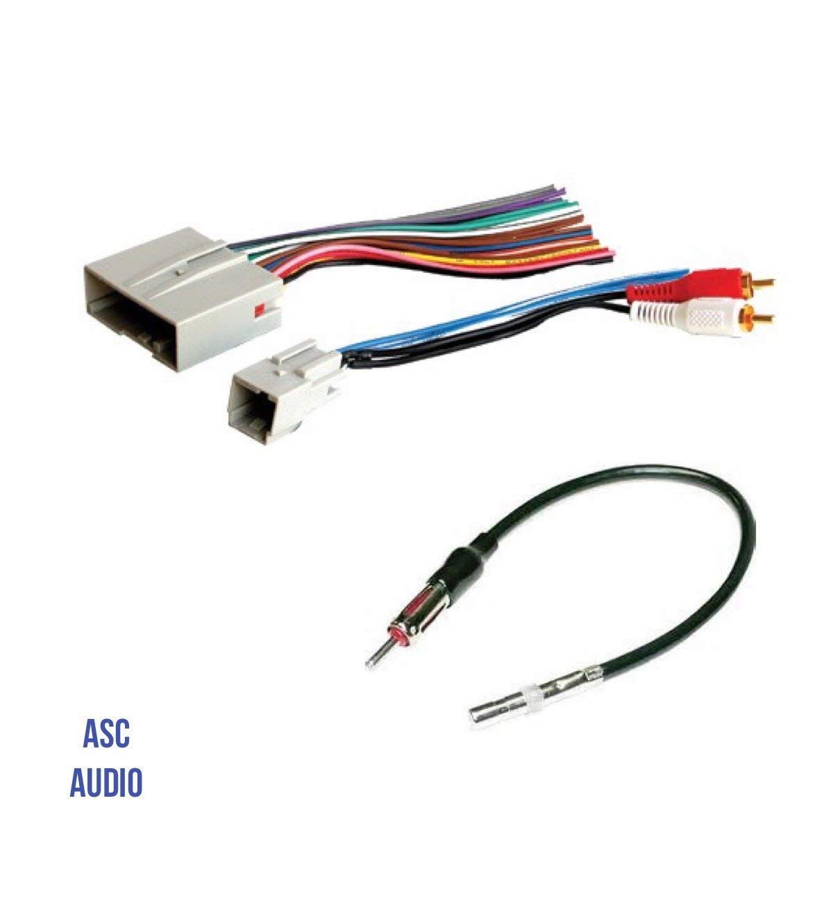 Amazon.com: ASC Audio Car Stereo Wire Harness and Antenna Adapter to  install an Aftermarket Radio for some Ford Lincoln Mazda Mercury Vehicles-  Retains ...