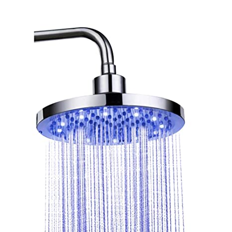 New Colorful Led Shower Head 7-color Changing Shower Head No Battery Led Waterfall Shower Head Round Bathroom Showerhead Home Improvement Shower Heads