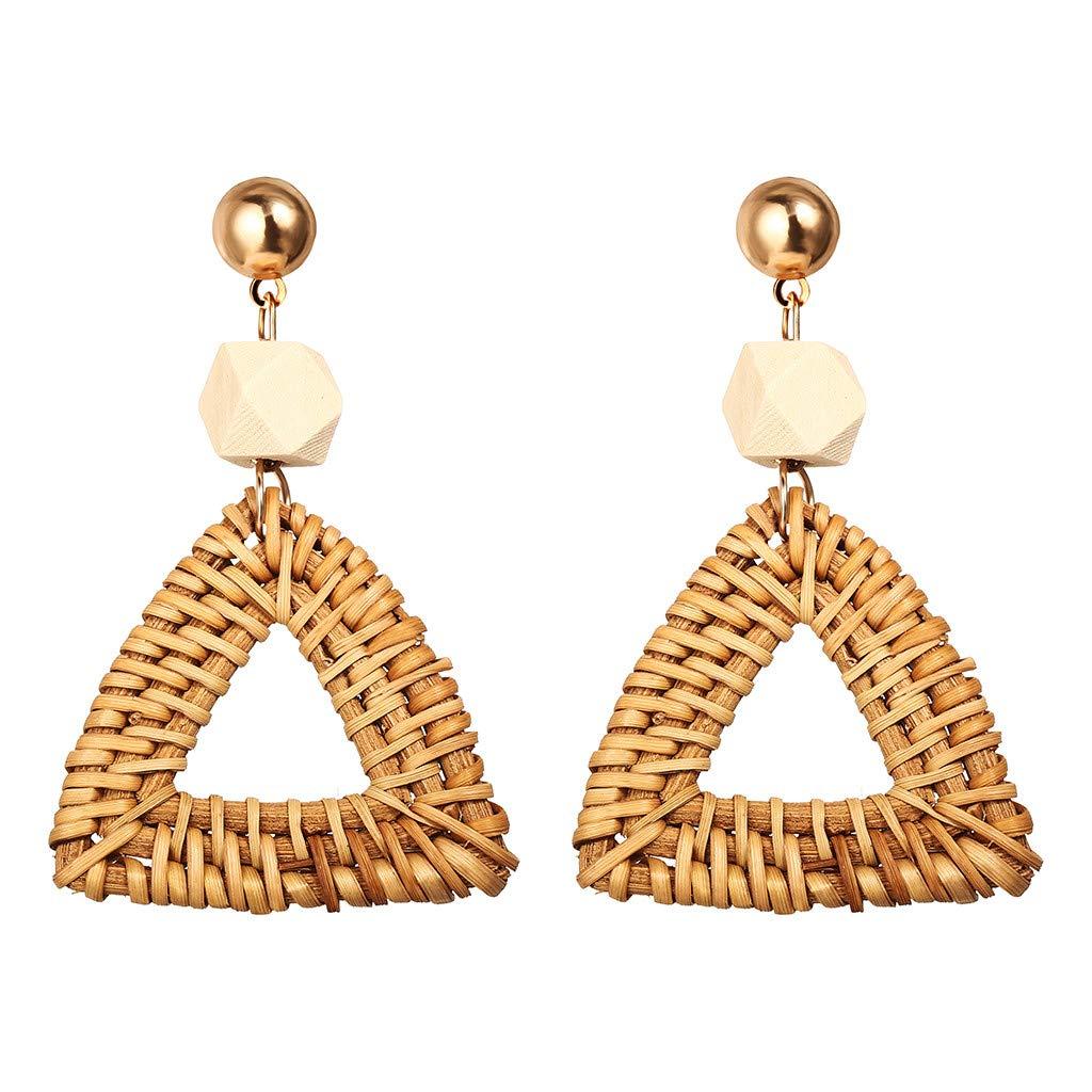 Creazrise Rattan Earrings for Women Handmade Straw Wicker Braid Drop Dangle Earrings Lightweight Geometric Statement Earrings