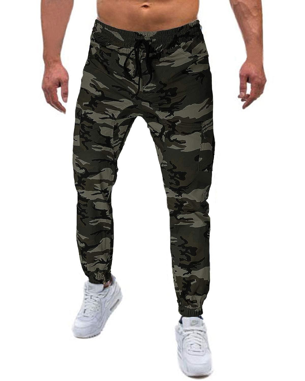 TALLA S. MODCHOK Hombre Pantalones Largos Camuflaje Jogger Ch¨¢ndal Pants Algod¨®n Sports?
